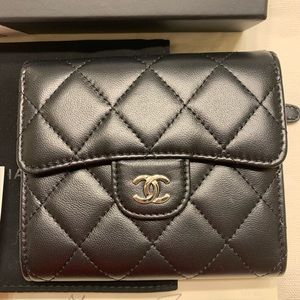 SOLD. Authentic Chanel Small Compact wallet black